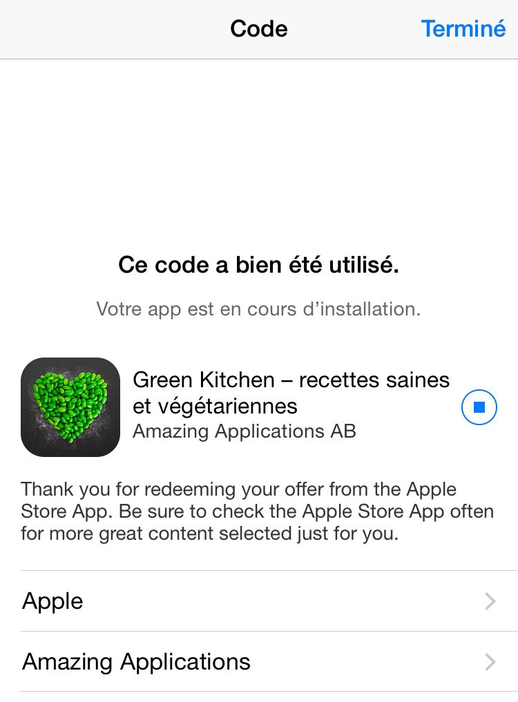 bon plan green kitchen gratuite avec l 39 app apple. Black Bedroom Furniture Sets. Home Design Ideas