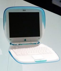 NEW APPLE IBOOK PORTABLE COMPUTER AT TRADE SHOW.