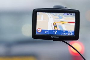 Photo illustration of TomTom navigation device in Amsterdam