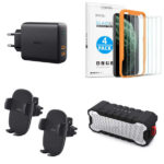 Promos du 08 octobre 2019 : Chargeur 36W 2 ports Power Delivery, supports voiture, enceinte Bluetooth tout terrain, vitres protection écran iPhone, câble Lightning MFI