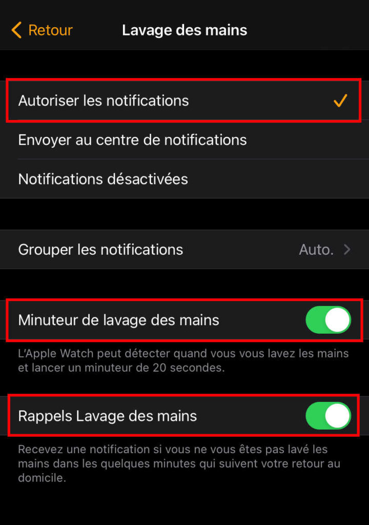 Lavage des mains avec l'Apple Watch